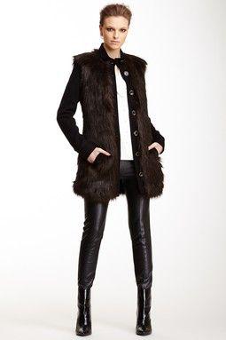 Rachel Zoe Marianna Faux Fur Trim Jacket