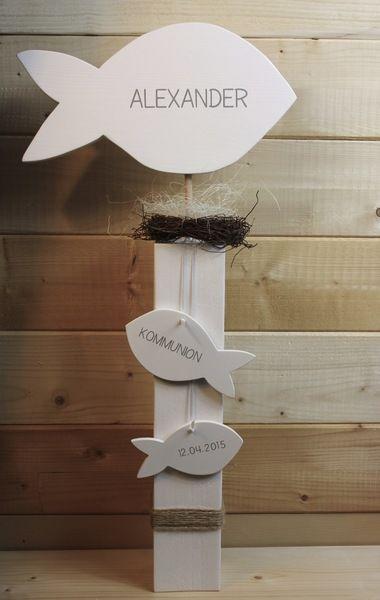 Dekoration -  Fische mit Name, Konfirmation, Kommunion, Taufe - ein Designerstück von werkzwo bei DaWanda