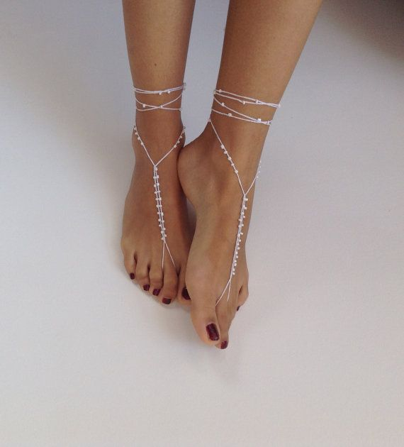 Barefoot Sandals bead whites wedding  Bikini  Women by SibelDesign