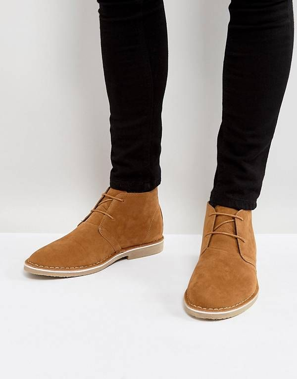 ASOS Desert Boots In Tan Faux Suede