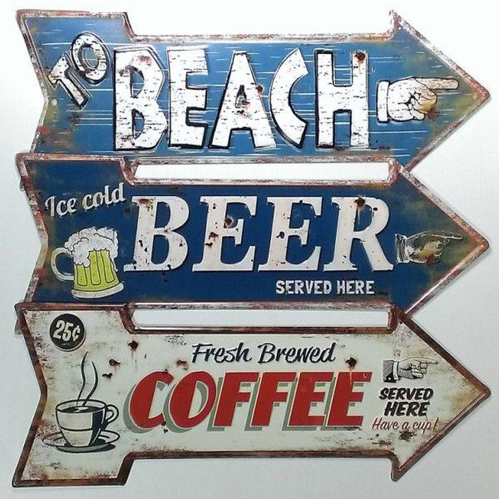 アメリカンブリキ看板矢印【ビーチ】【ビール】【コーヒー】プレートメタルサインガレージビンテージアメリカン雑貨アメリカインテリア