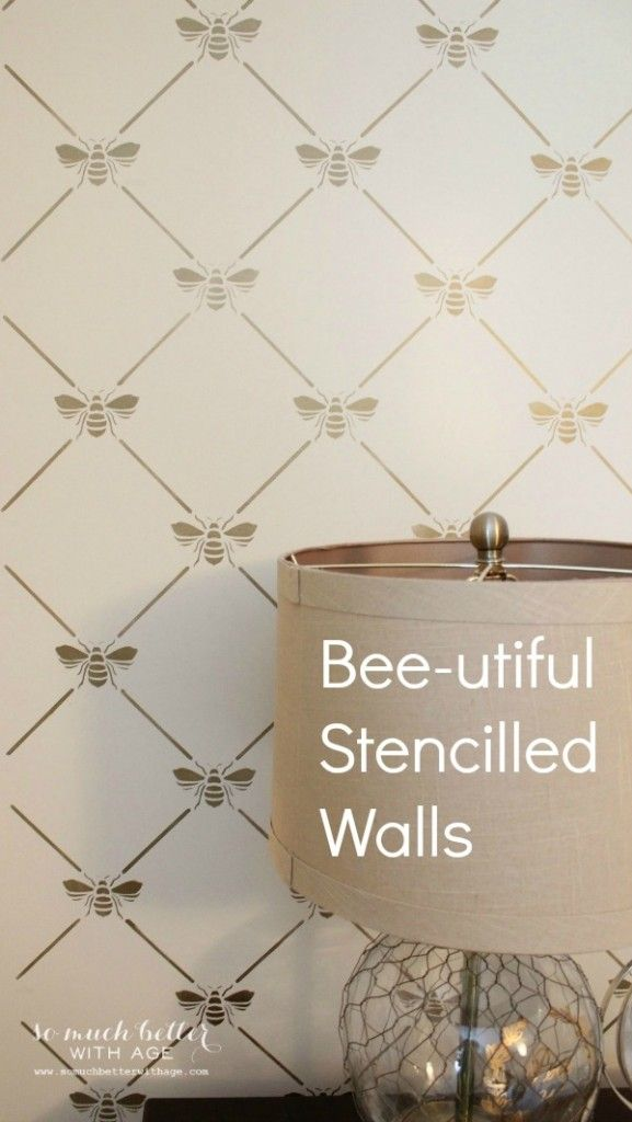 Bee-utfiul stencilled walls that look like just wallpaper via somuchbetterwithage.com