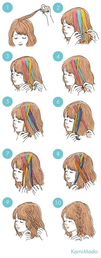 基本の編み込みの仕方は、トップの髪の毛をとってサイドの髪の毛を加えがら交差させていきます。加える髪の量を一定にするときれいな編みこみができます!
