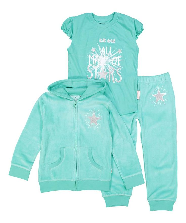 We are All Made of Stars, girl's velour sweatsuit and tee set in green with white and silver - Silly Souls