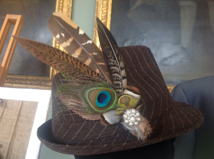 Couture, bespoke hat adornments from Lilly Dilly's x #wedding #special occasion #feathers #hat #peacock #vintage #groom #bridal party