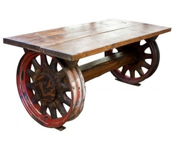 Upcycled Old Timber And Cart Wheels Coffee Table Found At The Old Cinema  Http:/