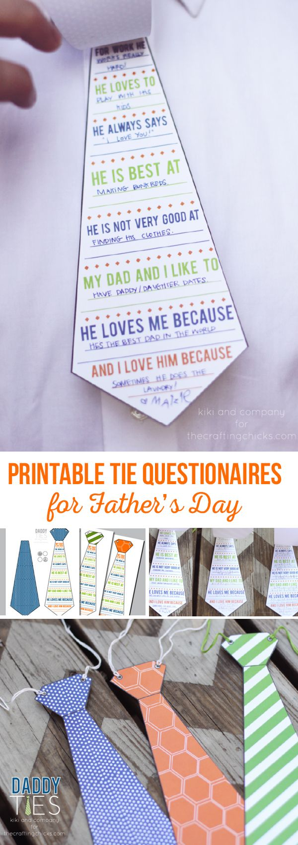 The Daddy Tie is super easy to put together. Simply download the tie. Print and cut out. Have your child fill out the questionnaire or if they are too little, you can help them. via @craftingchicks