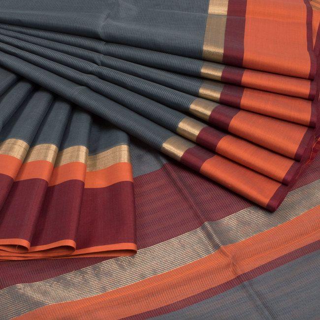 Ghanshyam Sarode Grey Handwoven Silk Cotton Saree With Ganga Jamuna Border 10009594 - profile - AVISHYA.COM