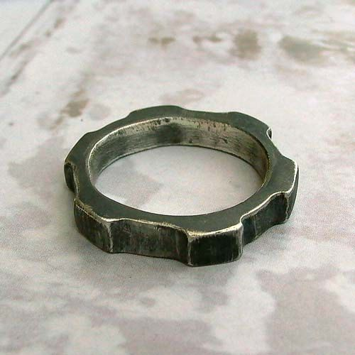 Thick Gear Ring Size 12 Oxidized Sterling Silver by andyshouse