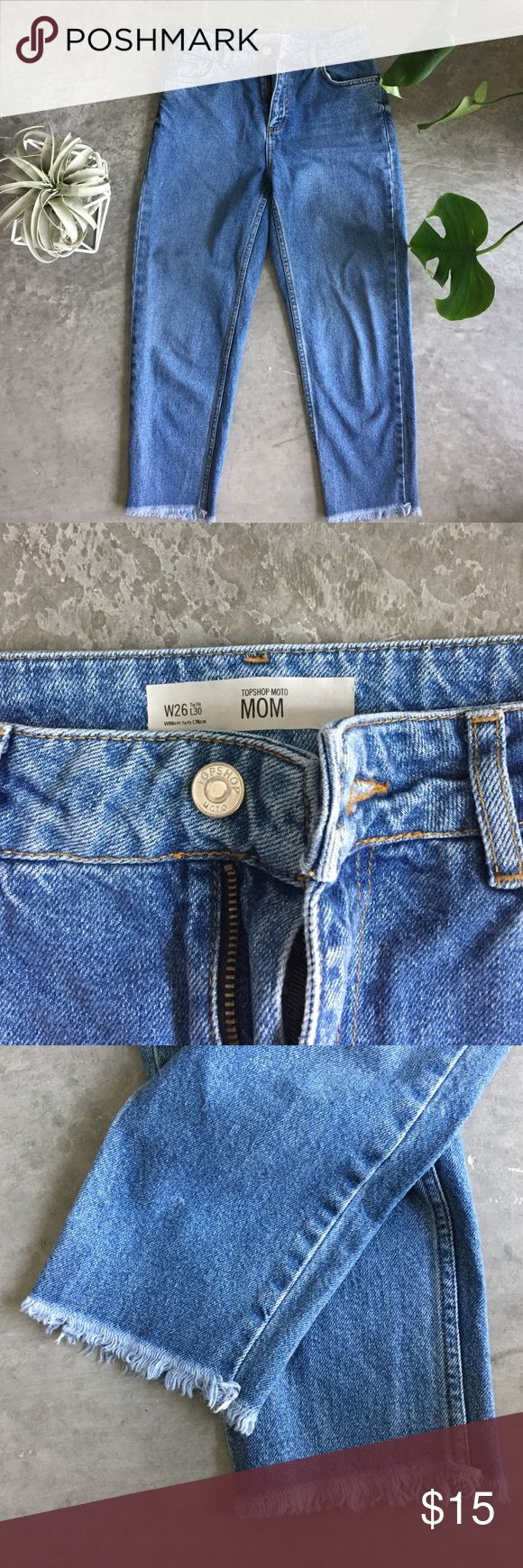 Topshop High-waisted, Cropped Mom Jeans size 26 Like new Topshop high-waisted, Cropped, frayed mom jeans size 26. Fits like a 25 Topshop Jeans Ankle & Cropped
