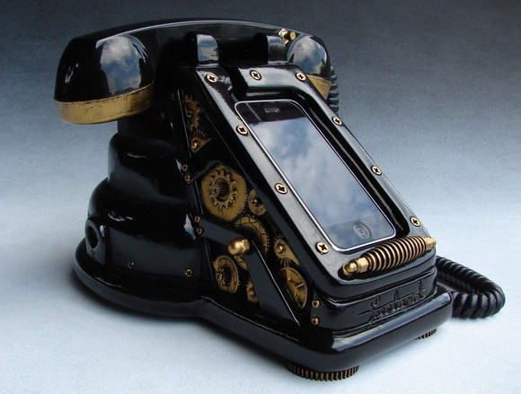 iRetrofone Steampunk - Black/GoldGadgets, Stuff, Steampunk Phones, Steam Punk, Things, Iretrofon Steampunk, Iphone Dock, Products, Steampunk Iphone