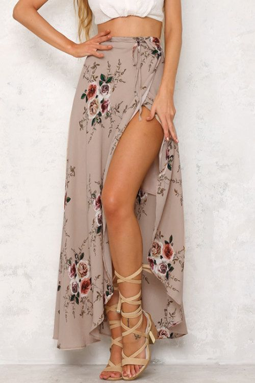 LISASTOR Women Elastic High Waisted Floral Print Bohemian Maxi Skirts Split  Hem Tie up Bikini Cover Up Long Beach Skirt (S, Beige): Size  informations:br S ...
