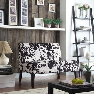 Wicker Black and White Faux Cow Hide Fabric 2-seater Accent Loveseat by INSPIRE Q
