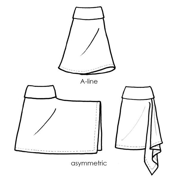 skirt sewing pattern - possibly rework so the drape is on the back (faux bustle style)?