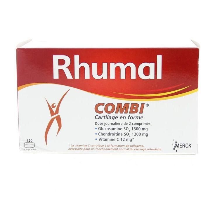 Merck Rhumal Combi Tabletten Gewrichten 120Tabl  Merck Rhumal Combi Glucosaminesulfaat 750mg  Chondroïtinesulfaat 600mgTabletten. Bewegen zich verplaatsen de noodzakelijke dagelijkse bewegingen zonder moeite uitvoeren allemaal activiteiten die nauw verbonden zijn met de gezondheid van onze gewrichten. De soepelheid en beweegbaarheid hangen in grote mate af van de gezondheid van ons kraakbeen dat als kussen fungeert en zo alle schokken kan opvangen en dempen. Met de leeftijd door overgewicht…