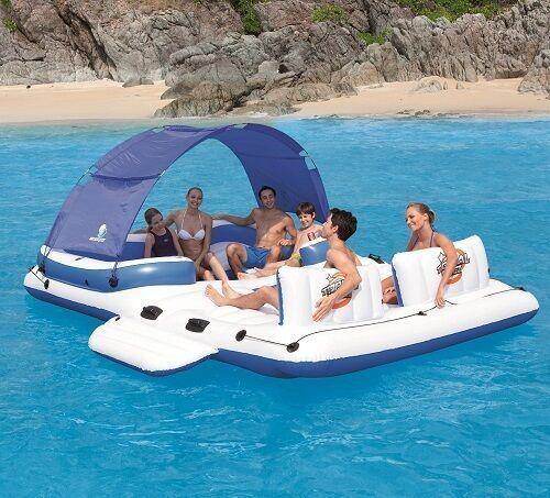 Inflatable island 6 person giant water raft swim float - Swimming pool basketball hoop costco ...