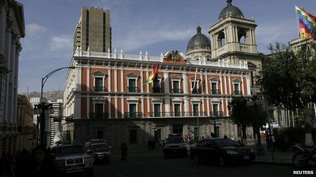 "The ""Burnt Palace"" - the current Presidential Palace in La Paz   Oct 2014"