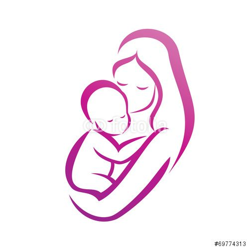 Vecteur : mother and her baby silhouette, isolated vector symbol