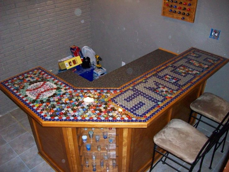 Handmade bar top out of beer bottle caps ideas for Beer cap bar top