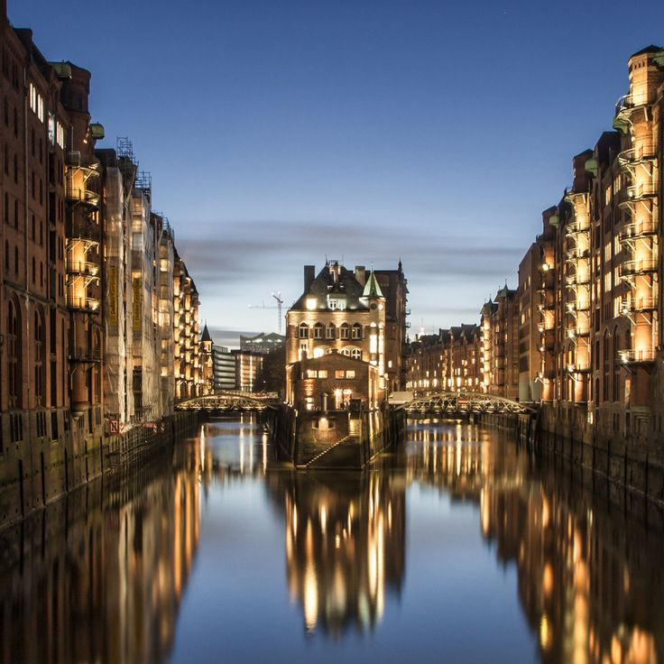The City of Warehouses  Speicherstadt at night, so romantic ;)