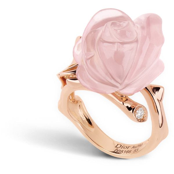 Rose dior pré catelan ring, small model, in 18k pink gold and pink... ❤ liked on Polyvore featuring jewelry, rings, red gold ring, quartz ring, 18k ring, 18 karat gold ring and rose ring