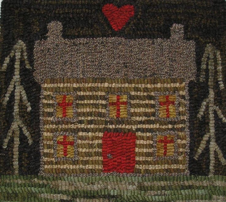 Hand Made Primitive Hooked Rug ~ Log Cabin ~ Folk Art ~ Early Style