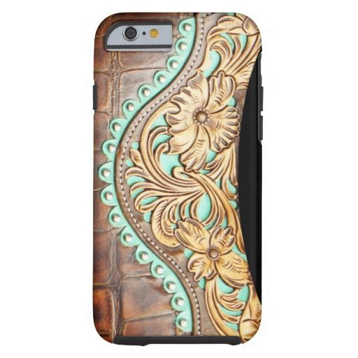 Western Style Turquoise and Tooled Leather Look iPhone 6 Case