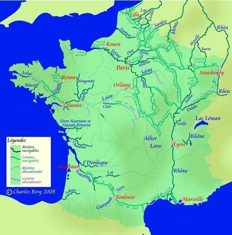 Fleuves-de-France-carte-des-fleuves-de-France-Seine-Meuse-Charente-Dordogne-Loire-Garonne-Lille-Rouen-Paris-Orléan-Rennes-Nantes-Bordeaux-Toulouse-Lyon