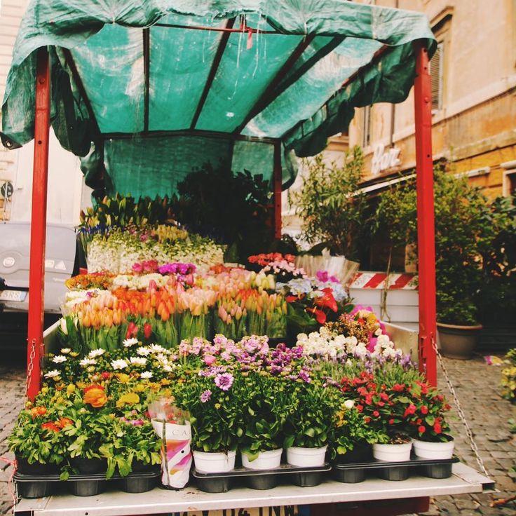 Cute flower trucks in hidden Roman alleys