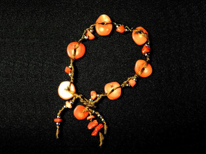 red coral beads hand tied knotted waxed cotton bracelet
