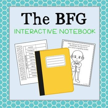 The BFG Interactive Notebook Novel Study  Low Prep and Stress-Free. Common Core Aligned. Can be used for the BOOK or MOVIE (or both!). Includes Roald Dahl author research activity.