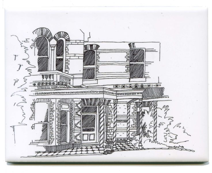 Drawing with fine liners recreated on a #Ceramic #Tile