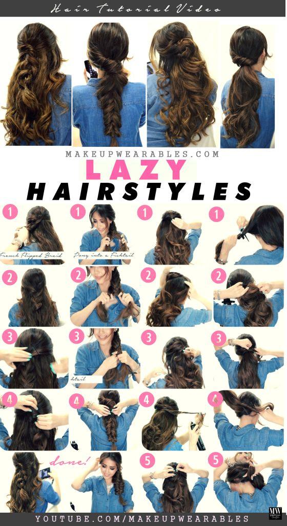 4 Easy Lazy Hairstyles  | Cute braids + ponytails | #hair #Peinados