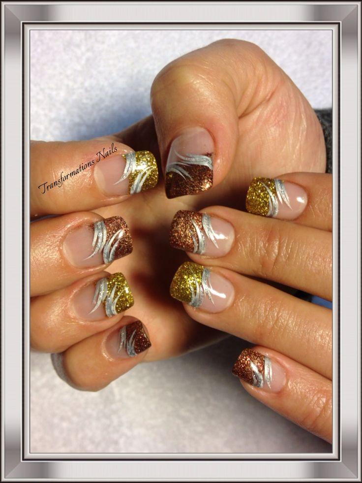 #freehand #nail art #golden brown nails #silver nails #pretty nail.
