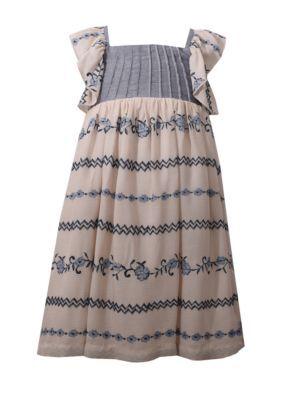 Bonnie Jean Girls' Woven Chambray Dress Toddler Girls - Beige - 3T