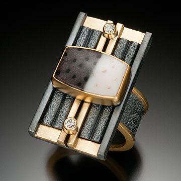 Beth Solomon  Petrified Palmwood Ring Sterling, 18k, 22k, diamonds, petrified palm wood 1.5 x 1 x .5 inches
