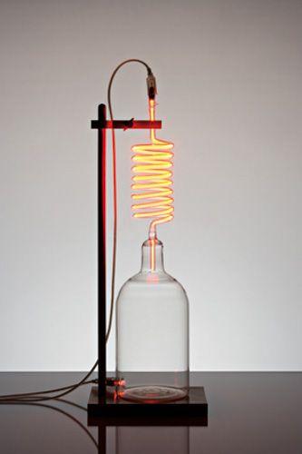 Rolf Sachs 'aladdin' 2008 / borosilicate glass, wooden laboratory stand, neon gas, electrics & transformer / H82 x W28 x D20cm / edition of 7