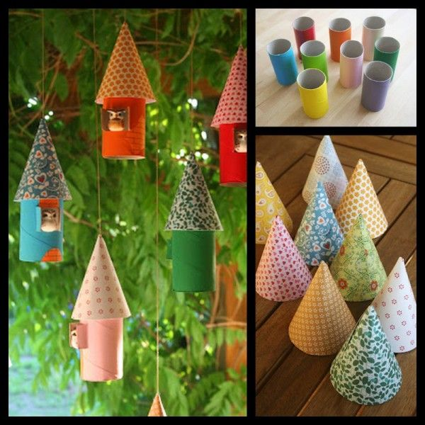 Paper toilet rolls - colorful paper & a bird.  How cute!
