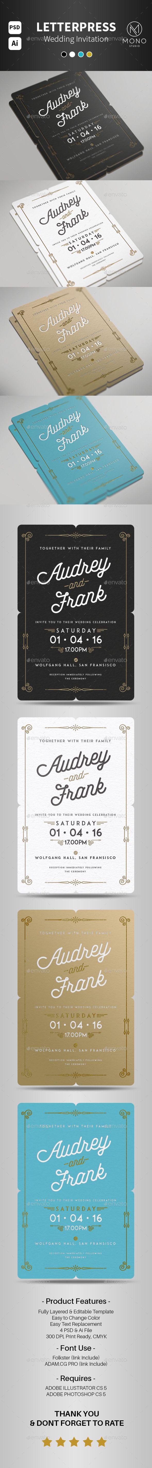 Letterpress Wedding Invitation Template PSD, Vector AI #design Download: http://graphicriver.net/item/letterpress-wedding-invitation/14145268?ref=ksioks
