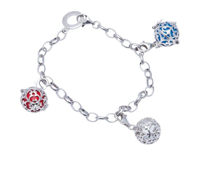 19,5cm Silver Rhodium Plated Bracelet (1299) with 14mm Silver Rhodium Plated Soundball Charms in White, Red & Turquoise (R1099 each)