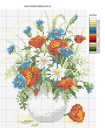 Bouquet of flowers in vase cross stitch pattern and color chart.