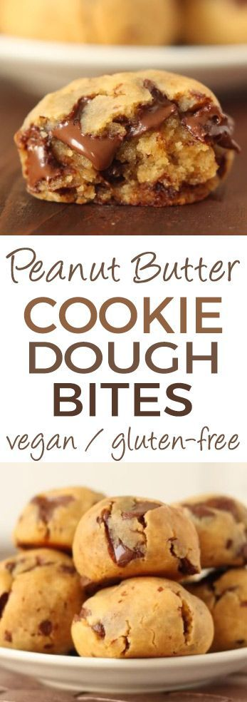 The Original Grain-free Peanut Butter Chocolate Chip Cookie Dough Bites - no flour no sugar and no oil! Gooey quick and easy with a surprise ingredient! Gluten-free vegan and dairy-free.