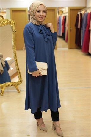f1b2adc76a2a5 Famelin-5749-Yakası Kravatlı Tunik-İndigo | Tunik tesettür giyim in ...