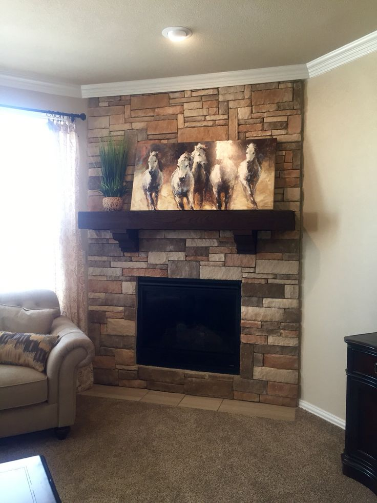 Chosen Fireplace Stone Except With Drywall Mantel