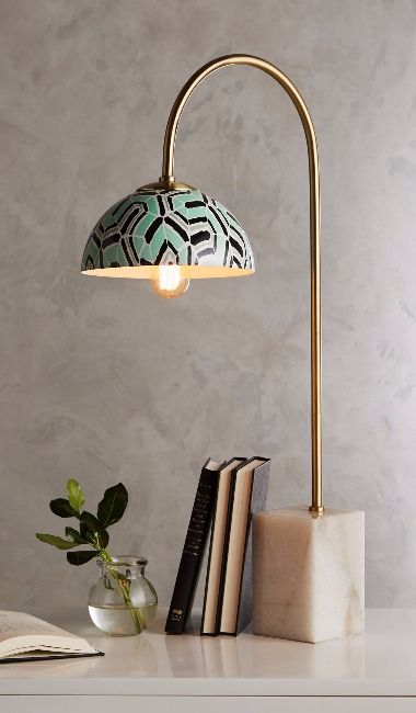 Winding Course Table Lamp. This lamp is so amazing. Love the etching and the stone base.