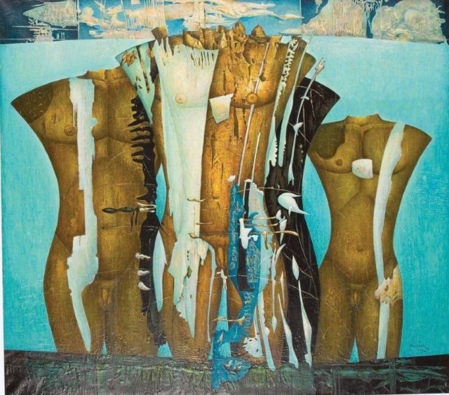 Alexis Preller, Marathon, 1970. Oil and gesso on canvas. 122 x 137 cm. Gordon Schachat Collection