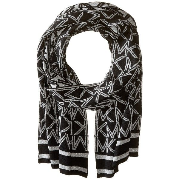 MICHAEL Michael Kors Muffler with Metallic Logo (Black/Silver) ($58) ❤ liked on Polyvore featuring accessories, scarves, metallic scarves, patterned scarves, metallic shawl, print scarves and silver metallic shawl