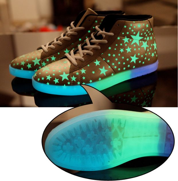 Golden Stars Fluorescent Shoes For Adults