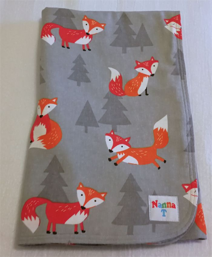Cosy Flannelette Baby Blanket / Cot Cover / Pram Cover / Play Mat - Foxes.