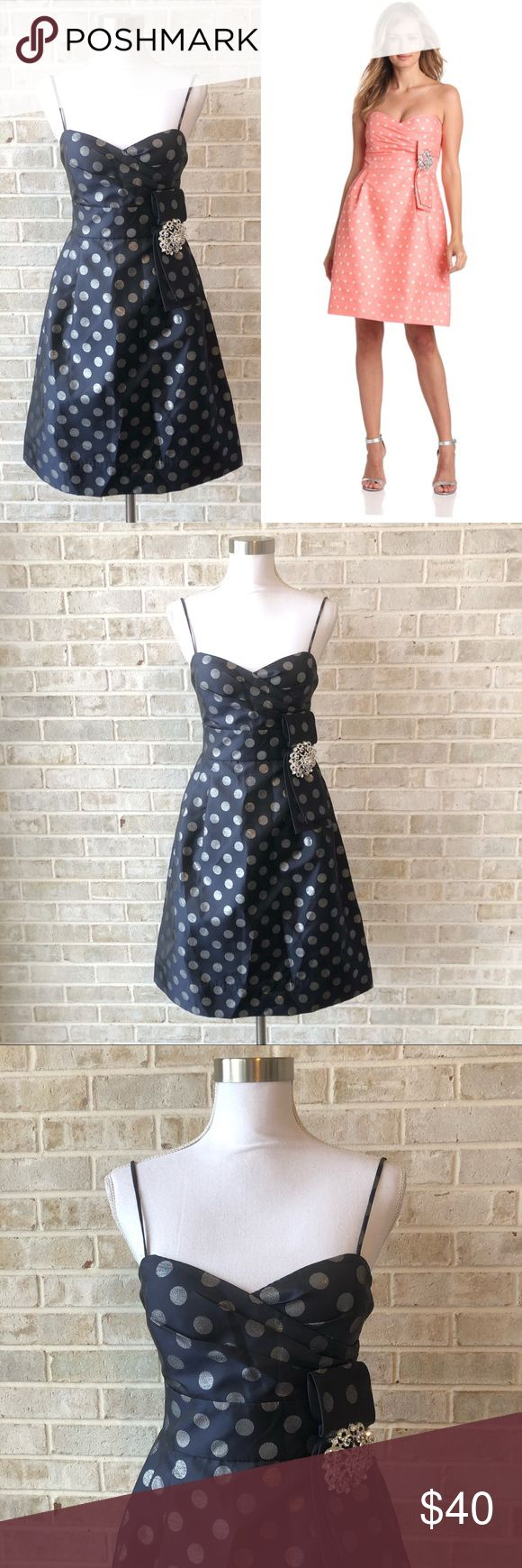 Eliza J Dot Dress Rhinestones Cocktail Blue Nwt • Brand: Eliza J • Size:2 • Material: See picture of tag in photos • new  • Length 40 Bust 16.5 Waist 13.5 • Other info: lined dress with dots. Cute rhinestone attachment. Navy color is available, peach shown to show fit •Inventory id:2431 Eliza J Dresses